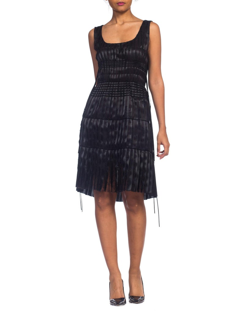 2003 Alber Elbaz Lanvin Pleated Lace Cocktail Dress Runway Sample In Excellent Condition For Sale In New York, NY