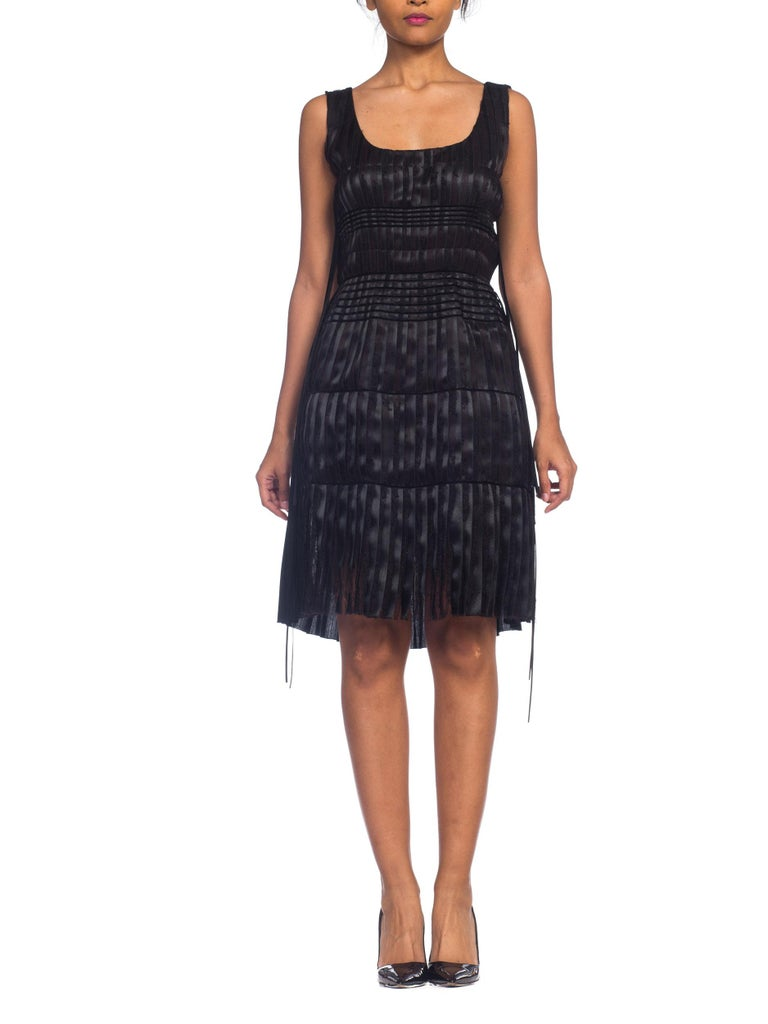 2003 Alber Elbaz Lanvin Pleated Lace Cocktail Dress Runway Sample For Sale 1