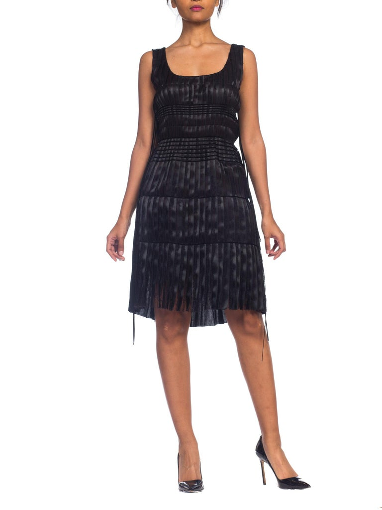 2003 Alber Elbaz Lanvin Pleated Lace Cocktail Dress Runway Sample For Sale 4