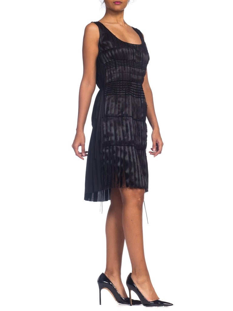 2003 Alber Elbaz Lanvin Pleated Lace Cocktail Dress Runway Sample For Sale 11