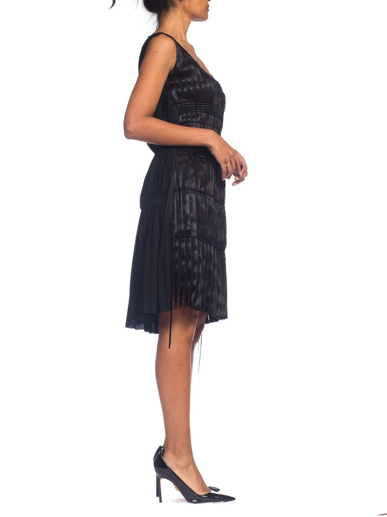 2003 Alber Elbaz Lanvin Pleated Lace Cocktail Dress Runway Sample For Sale 12