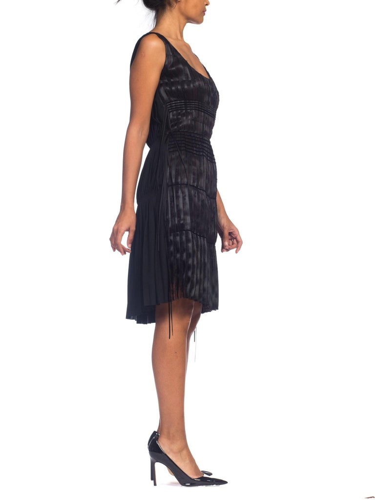 2003 Alber Elbaz Lanvin Pleated Lace Cocktail Dress Runway Sample For Sale 9
