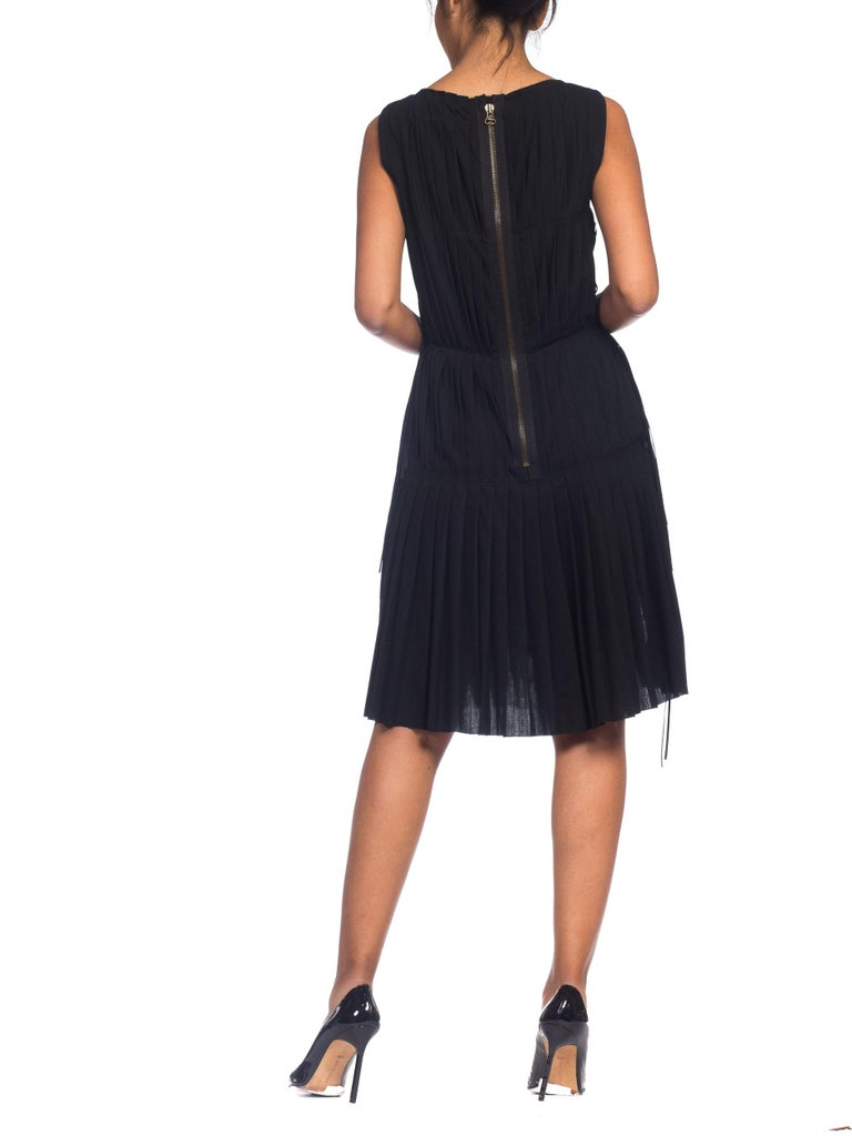 2003 Alber Elbaz Lanvin Pleated Lace Cocktail Dress Runway Sample For Sale 7