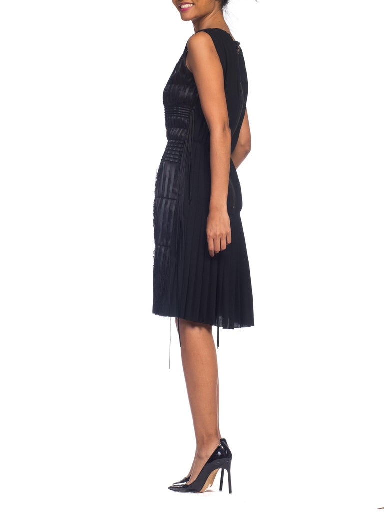 2003 Alber Elbaz Lanvin Pleated Lace Cocktail Dress Runway Sample For Sale 6