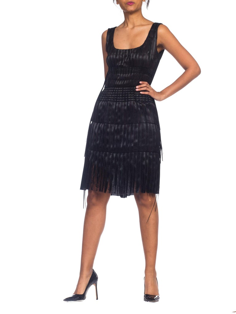 2003 Alber Elbaz Lanvin Pleated Lace Cocktail Dress Runway Sample For Sale 10
