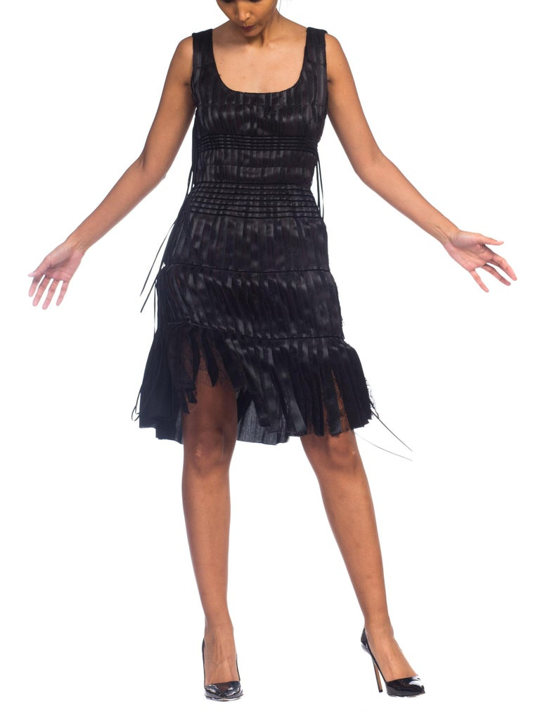 2003 Alber Elbaz Lanvin Pleated Lace Cocktail Dress Runway Sample For Sale 3