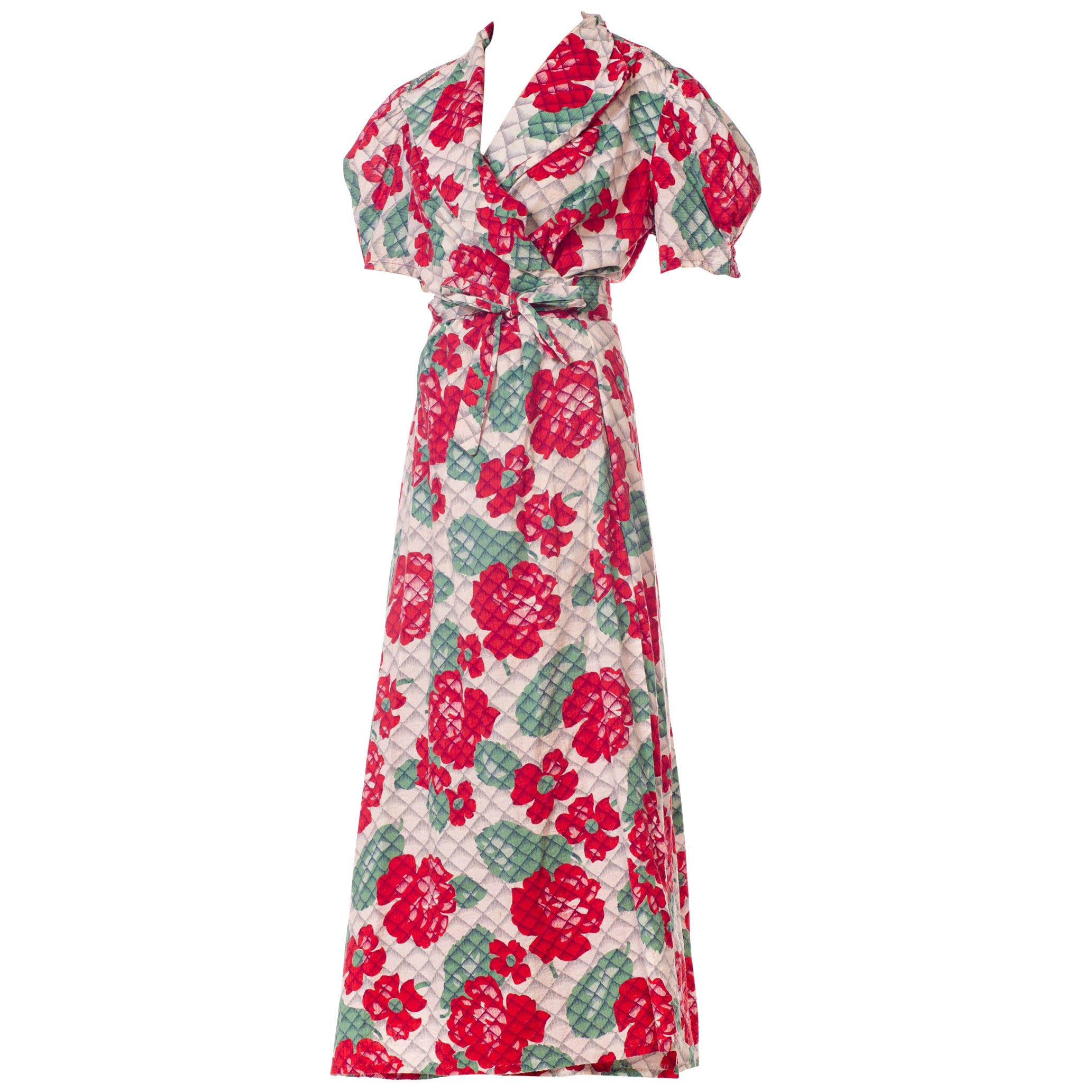 1940S Cotton Red And Green Floral Print Wrap Dress House Robe