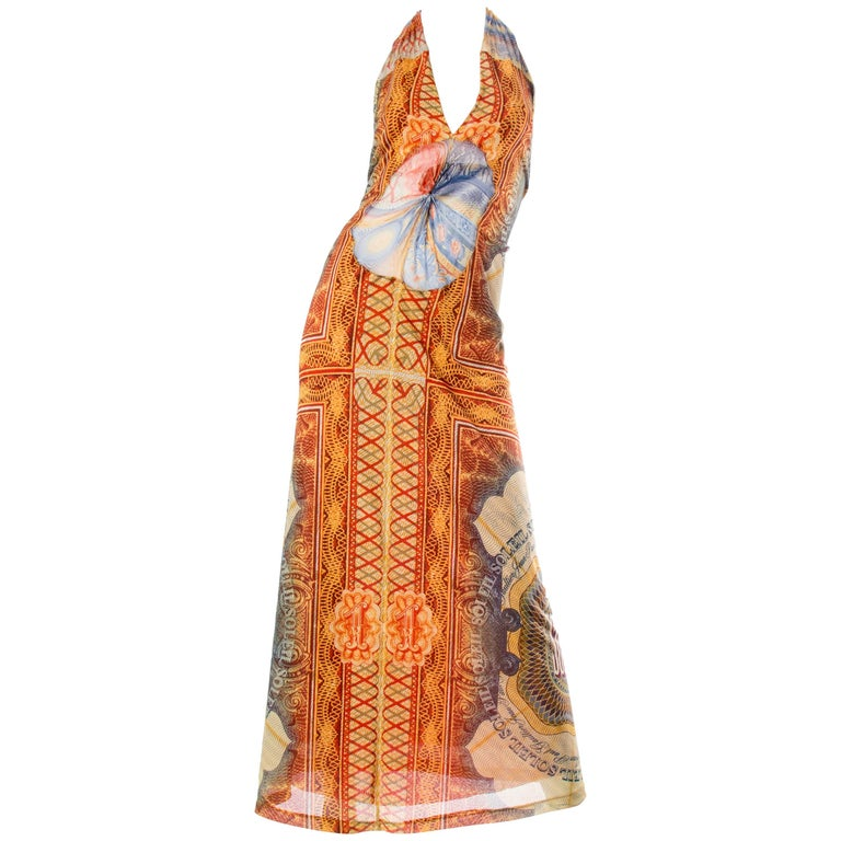 JPG Jean Paul Gaultier Amazing Money Printed Backless Dress For Sale