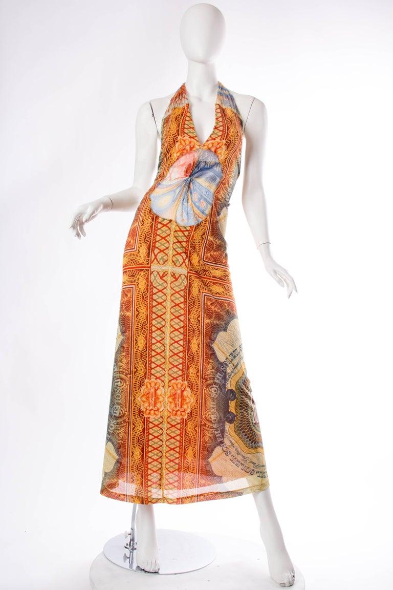 JPG Jean Paul Gaultier Amazing Money Printed Backless Dress 2