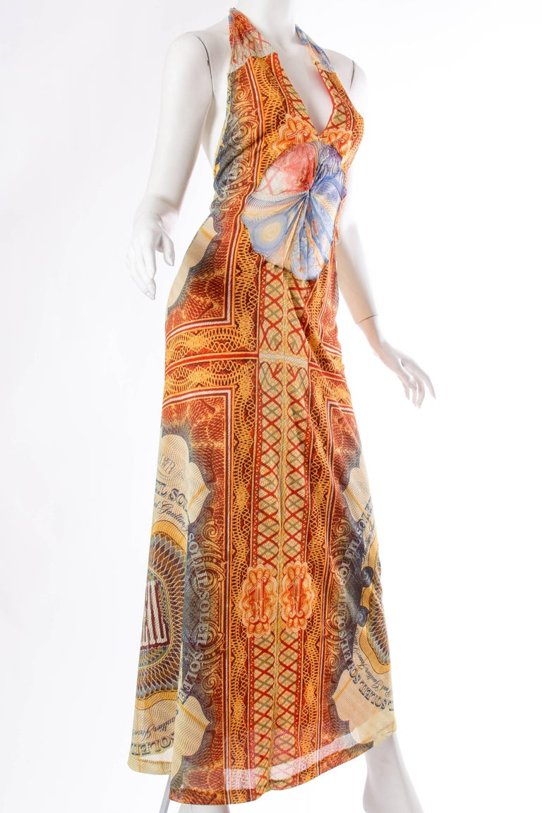 JPG Jean Paul Gaultier Amazing Money Printed Backless Dress 3