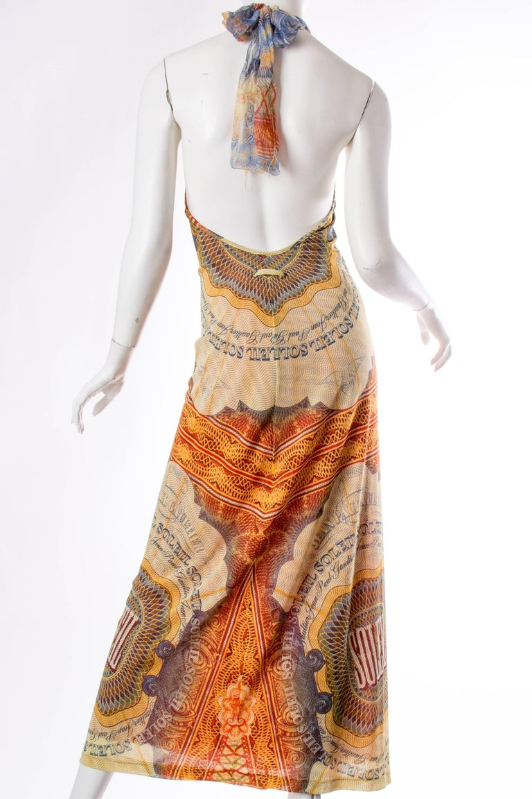 JPG Jean Paul Gaultier Amazing Money Printed Backless Dress In Excellent Condition For Sale In New York, NY
