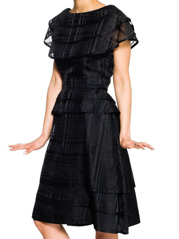 Black Karl Lagerfeld For Jean Patou 1950s K-line Cocktail Dress For Sale