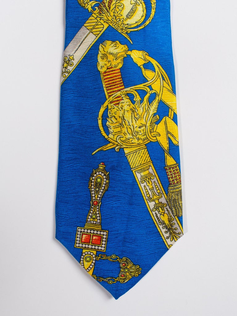 Men's 1990s Gianni Versace Bright Blue Mens Silk Tie With Gold Swords For Sale