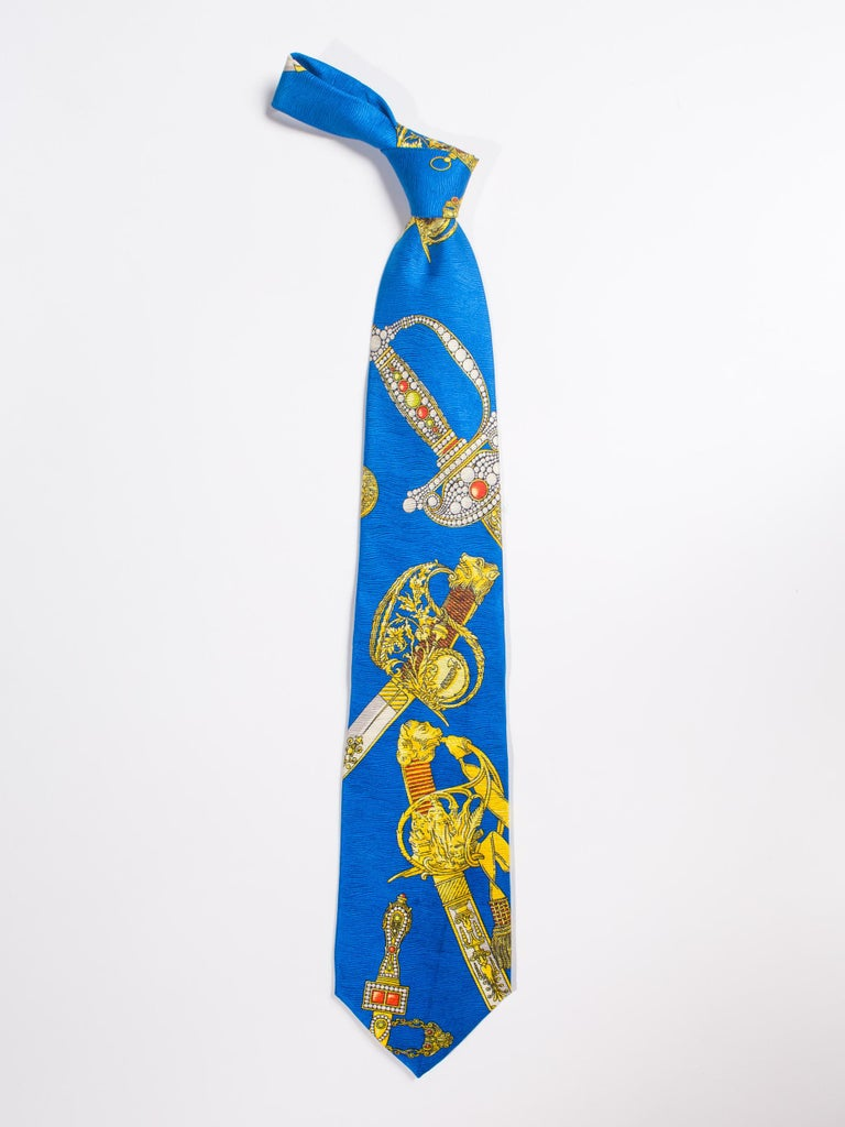 1990s Gianni Versace Bright Blue Mens Silk Tie With Gold Swords For Sale 2