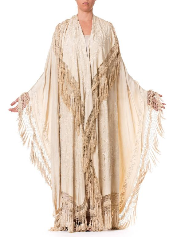 Beige Antique Victorian Chinese Embroidered Fringe Shawl Valance For Sale