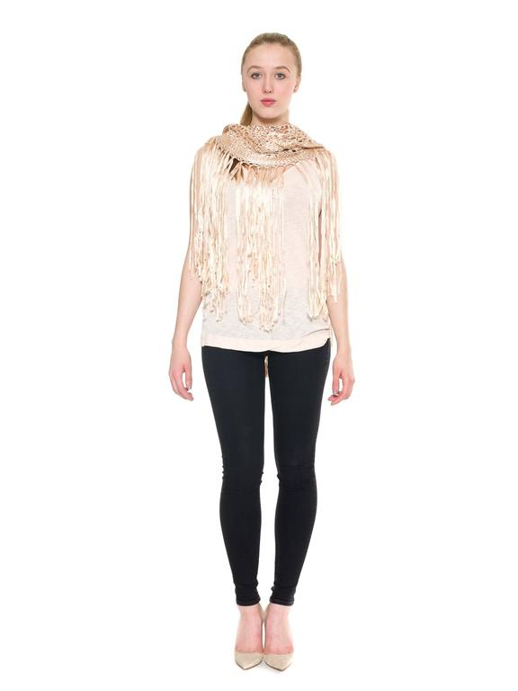 Rayon Macrame Shawl Tunic Coverup In Excellent Condition For Sale In New York, NY