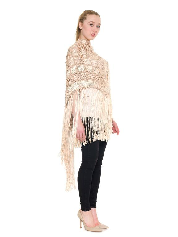 Beige Rayon Macrame Shawl Tunic Coverup For Sale