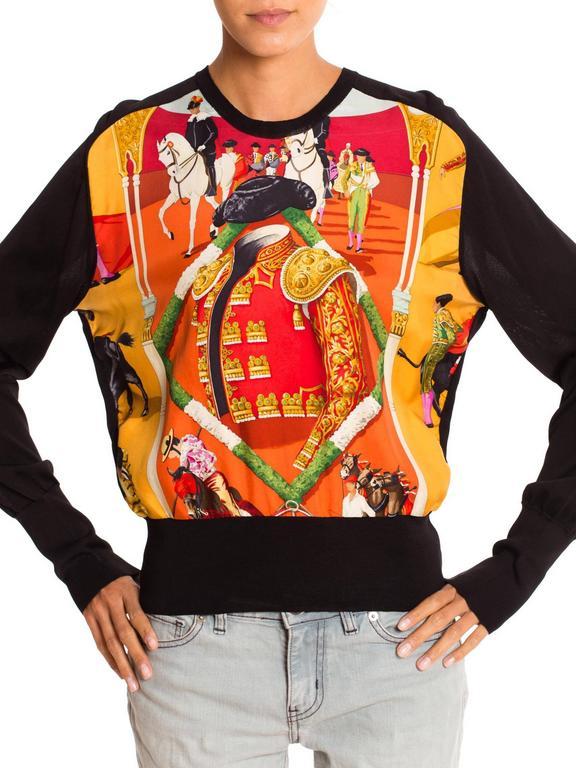 Black Hermès Matador Scarf Print Pullover For Sale