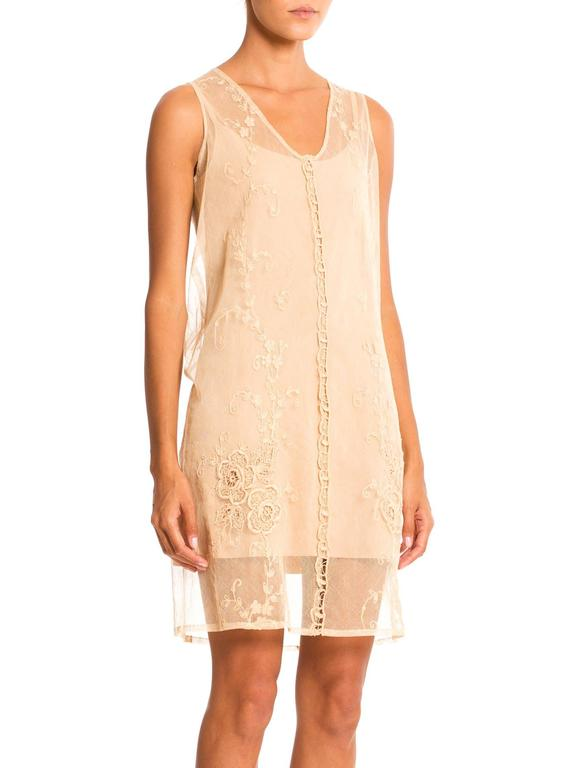 Beige 1920s Victorian Curtain Lace Dress For Sale