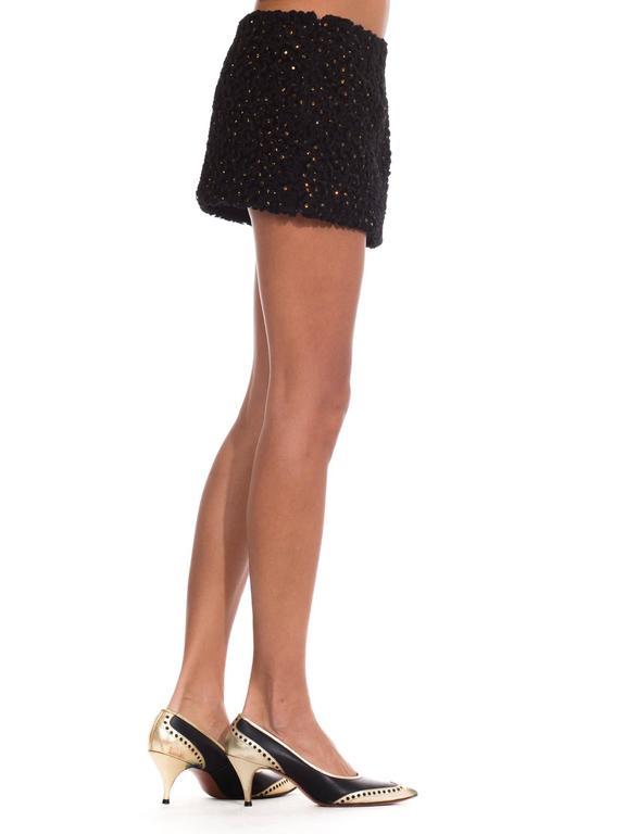 Black 1990s Gianni Versace Couture Documented Swarovski Mini Skirt For Sale