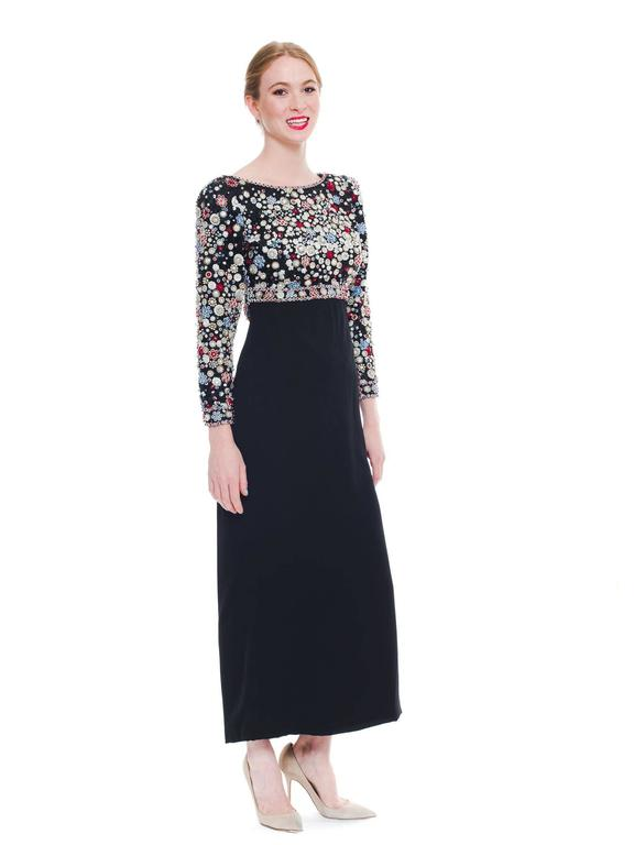 Women's 1980S JAMES GALANOS Black Silk Long Sleeve Cut-Out Back Gown With Polka Dot Cry For Sale