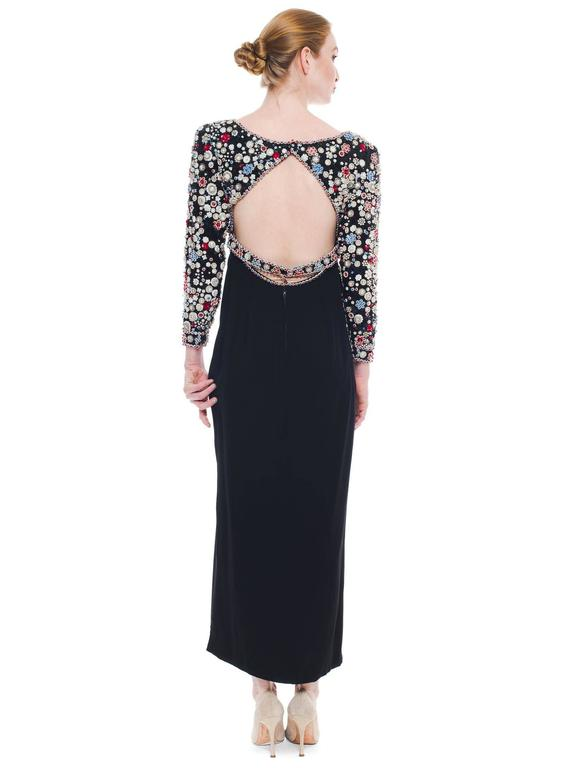 1980S JAMES GALANOS Black Silk Long Sleeve Cut-Out Back Gown With Polka Dot Cry For Sale 1