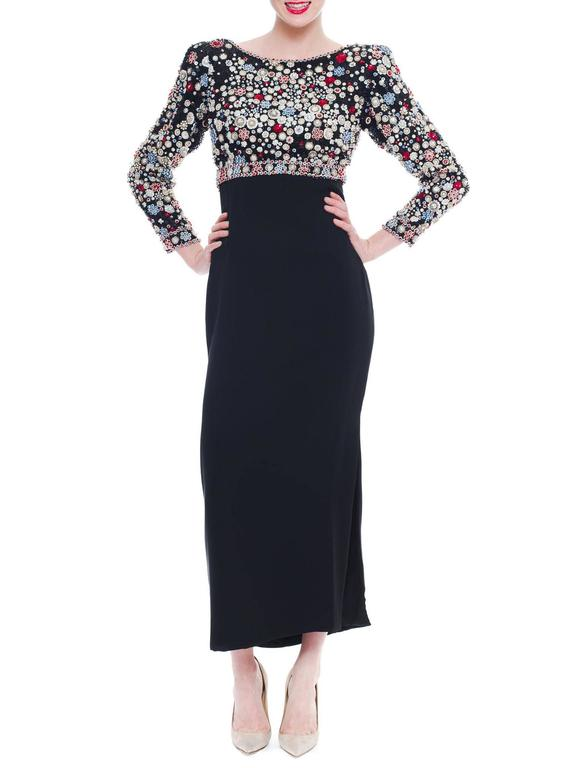 1980S JAMES GALANOS Black Silk Long Sleeve Cut-Out Back Gown With Polka Dot Cry In Excellent Condition For Sale In New York, NY