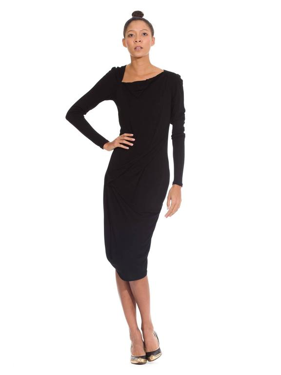 Martin Margiela Black Draped Jersey Dress 3