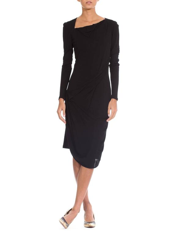 Martin Margiela Black Draped Jersey Dress 2