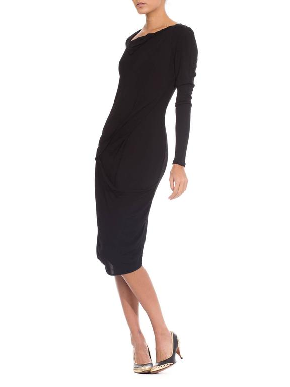 Martin Margiela Black Draped Jersey Dress 4