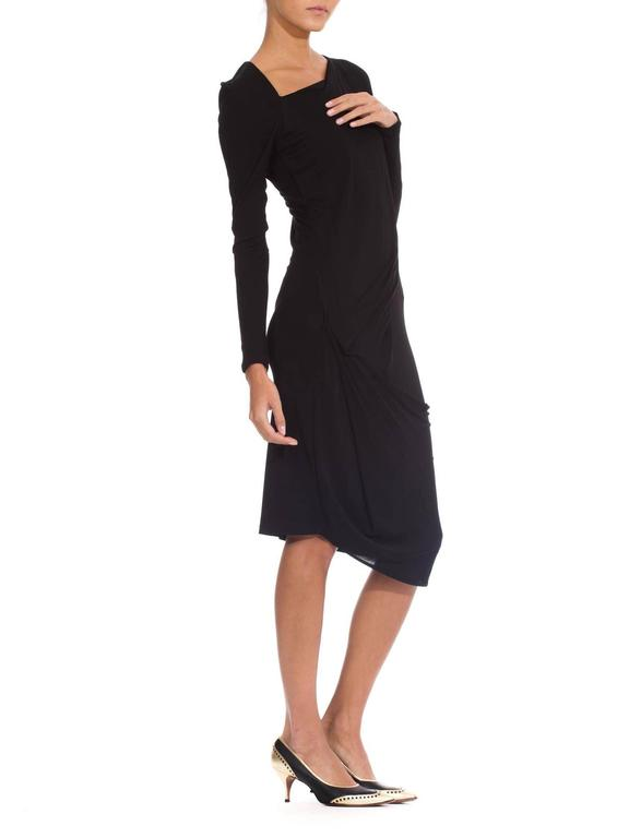 Martin Margiela Black Draped Jersey Dress 7