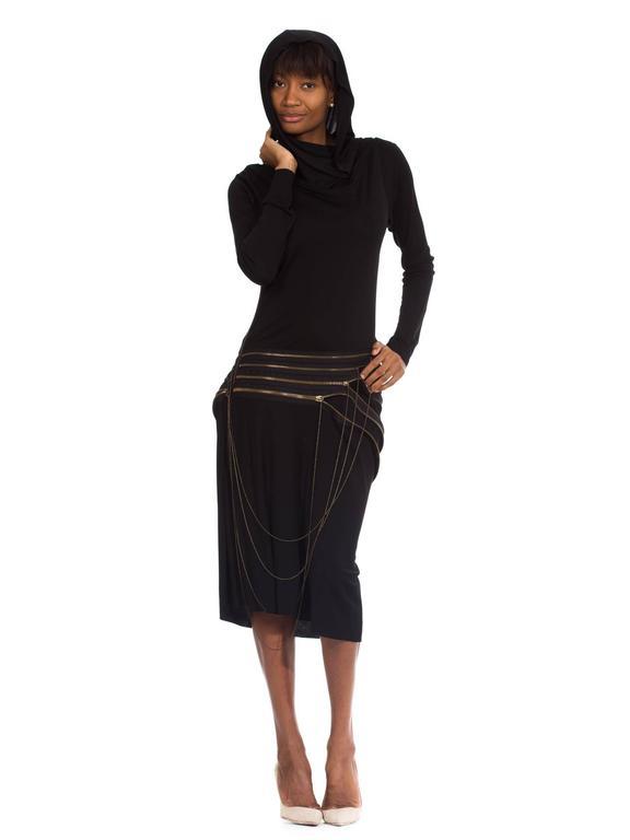 Black Jean Paul Gaultier Jersey Zipper Dress with Hood For Sale