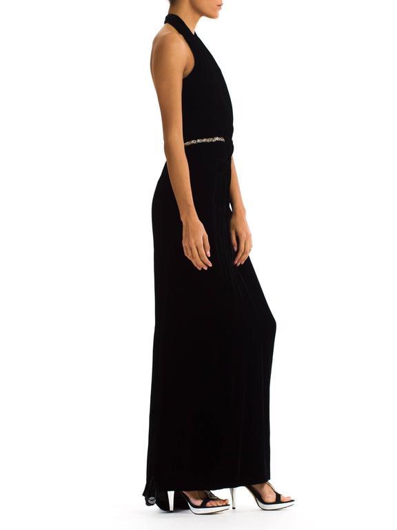 Black 1970s Ceil Chapman Plunging Halter Neck Gown in Velvet For Sale