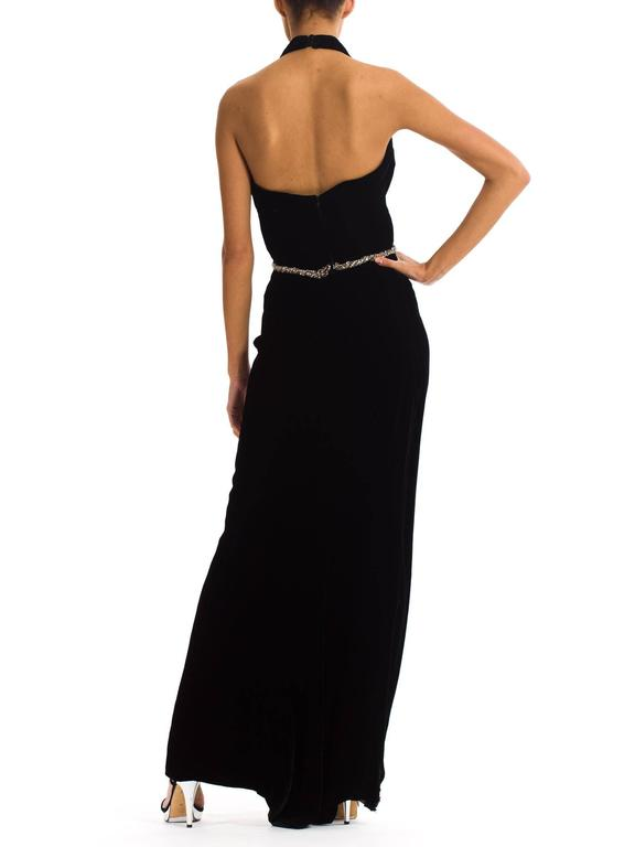 1970s Ceil Chapman Plunging Halter Neck Gown in Velvet In Excellent Condition For Sale In New York, NY