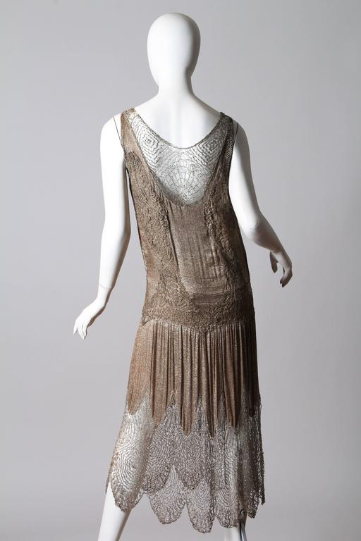 Brown 1920s Art Deco Lace made from Silver and Beads For Sale