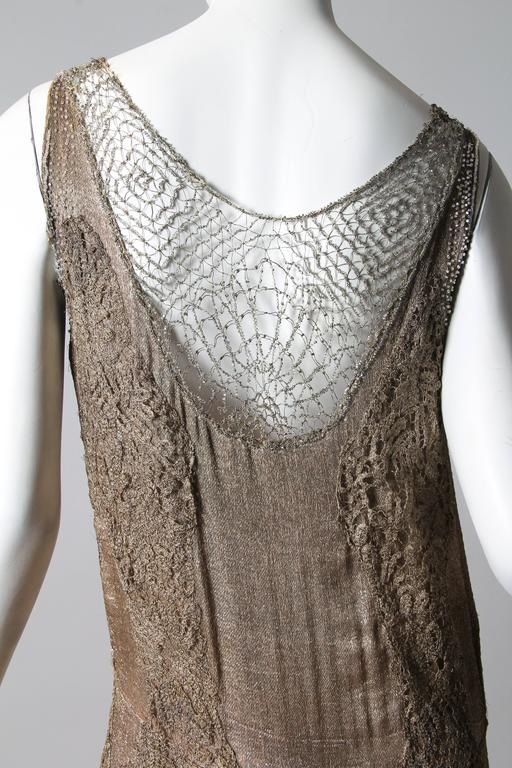 1920s Art Deco Lace made from Silver and Beads 5