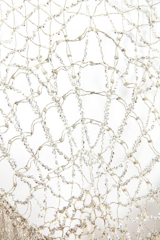1920s Art Deco Lace made from Silver and Beads For Sale 1