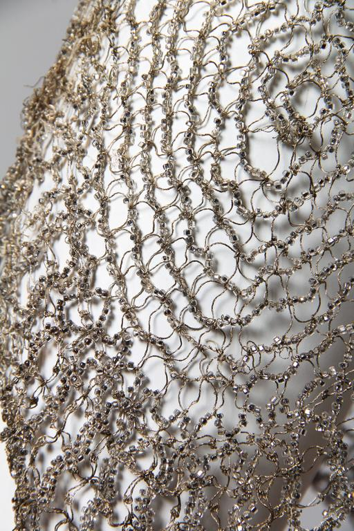 1920s Art Deco Lace made from Silver and Beads For Sale 5