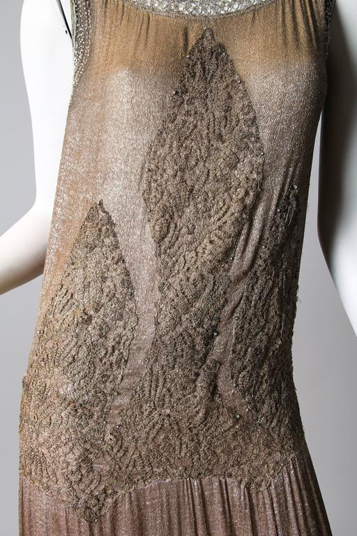 1920s Art Deco Lace made from Silver and Beads In Good Condition For Sale In New York, NY