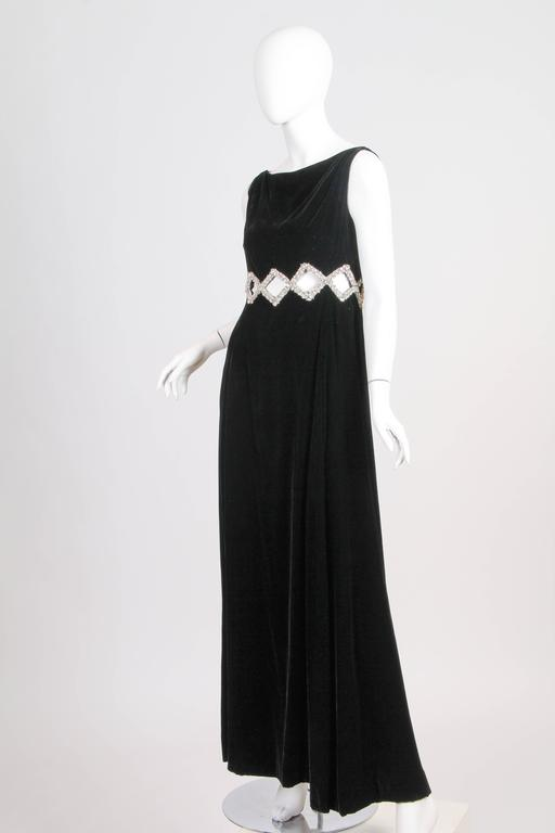 1960s Velvet Gown with Crystal Bordered Cut-outs 3
