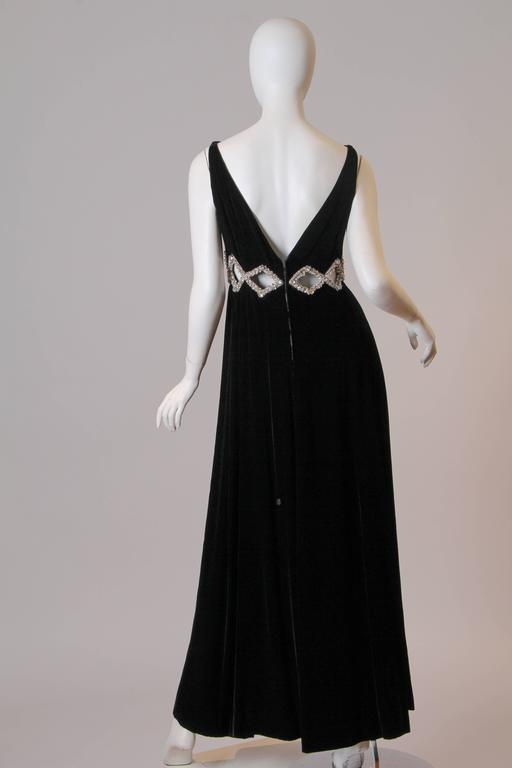 1960s Velvet Gown with Crystal Bordered Cut-outs 4