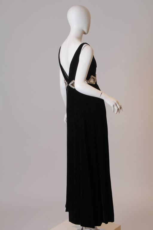 1960s Velvet Gown with Crystal Bordered Cut-outs 2