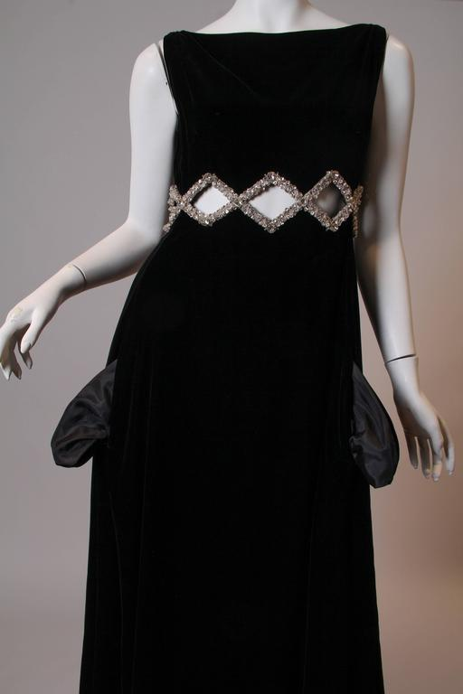1960s Velvet Gown with Crystal Bordered Cut-outs 5