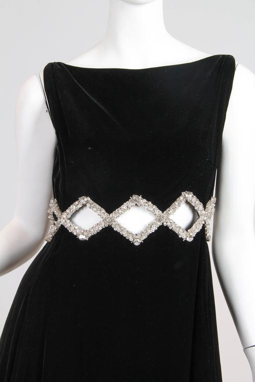 1960s Velvet Gown with Crystal Bordered Cut-outs 6