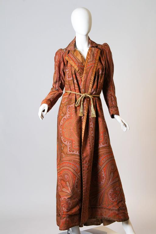 Brown Victorian Paisley Coat For Sale