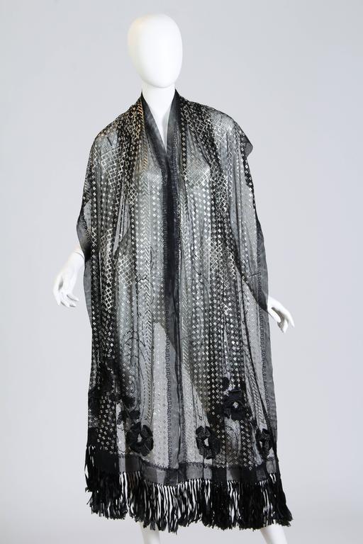 Floral Embroidered Silver Metal on Net Assuit Fringe Shawl For Sale 3
