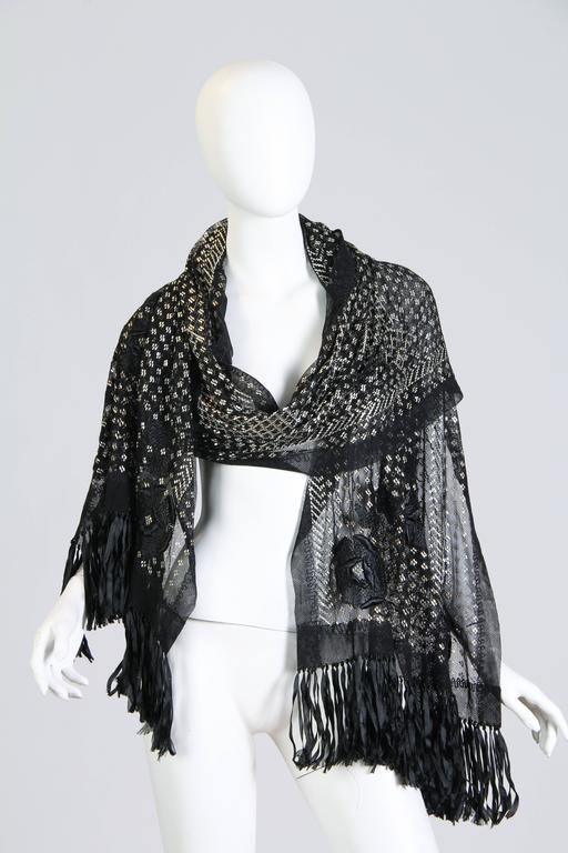 Women's Exqusite Floral Embroidered Assuit Shawl For Sale
