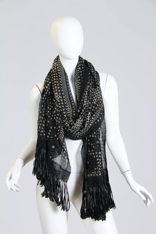 Floral Embroidered Silver Metal on Net Assuit Fringe Shawl In Excellent Condition For Sale In New York, NY
