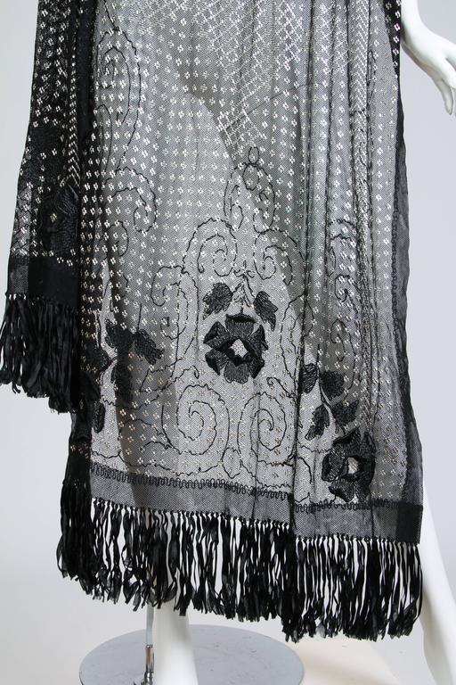 Floral Embroidered Silver Metal on Net Assuit Fringe Shawl For Sale 4