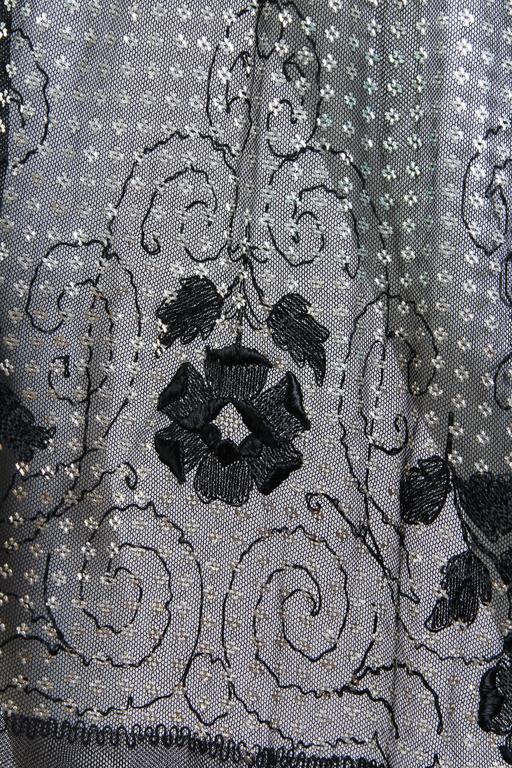 Floral Embroidered Silver Metal on Net Assuit Fringe Shawl For Sale 5